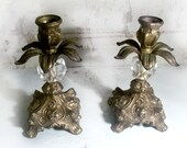 RESERVED FOR SANDY Baroque Candlesticks Ornate Brass and Crystal Candlesticks Shabby Home Decor