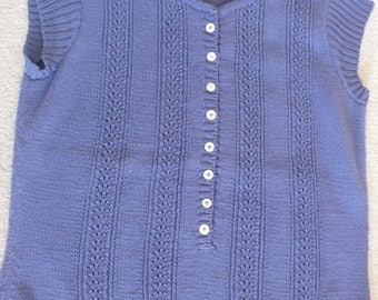 Kim Hargreaves hand knitted cotton denim blue Rowan top  summer sweater L with pearl buttons