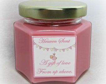 Baby Girl Shower Favor, Four ounce soy candle, Pink and White, Custom Fragrance, Heaven Sent