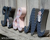 Custom Wooden Initials with Ampersand - wedding letters, wedding reception, wedding decor (navy, pink, grey, gray, mason jar, flower, dots)