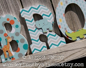 Jungle Animals Custom Nursery Wooden Letters, Baby Nursery - Jungle Animal Theme Custom Letters, Designed to Match Yoo-Hoo Nursery Bedding