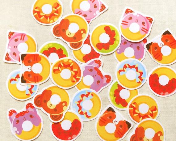 Cute Donut Stickers: Kawaii Animal Food Sticker by ...