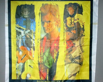 Police Synchronicity banner , feels like it's made of nylon , a bit thick , too thick to be a scarf . sting 1980's