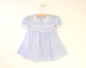 Vintage Baby Clothes, 1940's Saks Fifth Avenue Sky Blue and White Lace Baby Girl Dress, Vintage Baby Dress, Blue Baby Dress, Size 6 Months