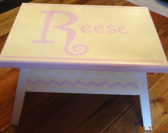 Step Stool or Foot Stool-Pink with Cream Hearts and Chevron -Personalization