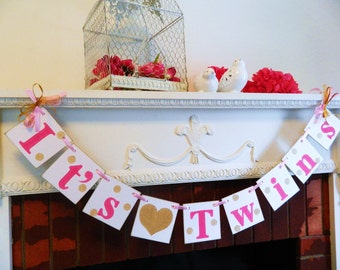 Twins Banner / Baby Shower Decor/ Twins Baby Shower decoration / Twin Girls or Twin Boys Nursery Decor / Custom colors