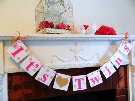 Twins banner baby shower decor twins baby shower decoration for Baby shower decoration ideas for twin girls