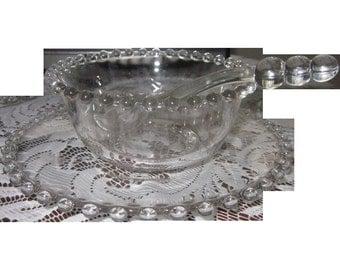 Vintage crystal Imperial Candlewick Sauce server plate/bowl/spoon
