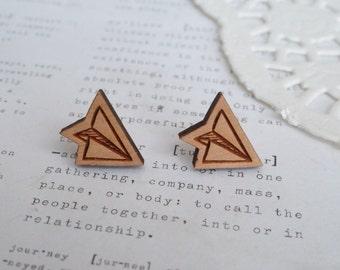 Wooden Paper Plane Earrings