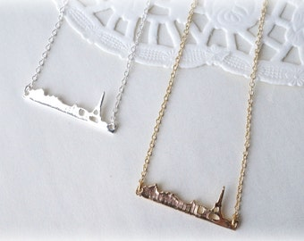Silver or Gold Petite  Paris Cityscape Necklace