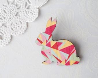 Wooden Geometric Bunny Brooch