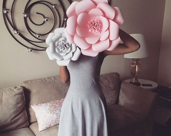 3D Wall Flowers -  Large Paper Flower Set of 3 - Custom Colors Available