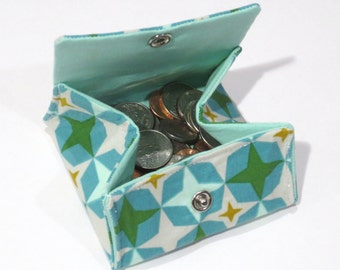 Unique Folding Coin purse, change purse, coin pouch, wallet, Bowling Alley, Aqua, gifts under 20