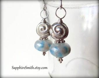 TAKE 28% OFF across the shop! (coupon code THANKYOU) Pearl White and Aqua Lampwork Glass, Bali Sterling, Hill Tribe Fine Silver Earrings