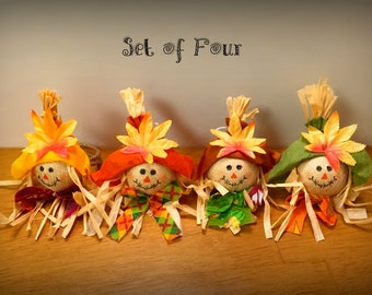 Thanksgiving Napkin Rings Fall Napkin Rings Scarecrow Napkin Rings Fall Table Decor Fall Table Centerpiece Thanksgiving Table Decor Set of 4