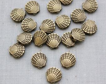 9.5mm Antique Bronze Shell Beads - Nickel Free