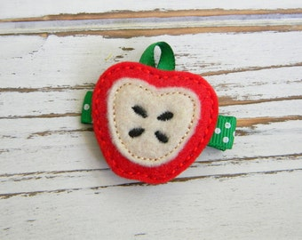 Fall Hair Clip - Apple Clippie - Back to School Clippie - Apple Hair Clip