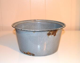 Enameled Graniteware Bowl Pan Speckled Gray Metal Pan Enamel Graniteware Bowl Rustic Prim Farmhouse Decor