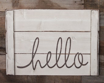 Large Wood Sign - Hello - Farm House Sign - Pallet Sign - Home Decor - Inspiration - Hello Sign - Pallet Style