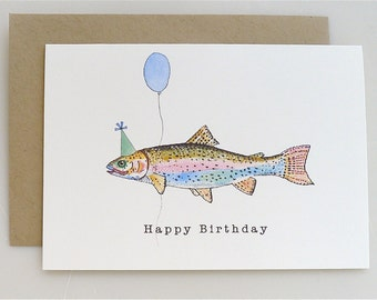 Trout Birthday Card - party hat - balloon - happy birthday - fish - funny card - handmade - paper