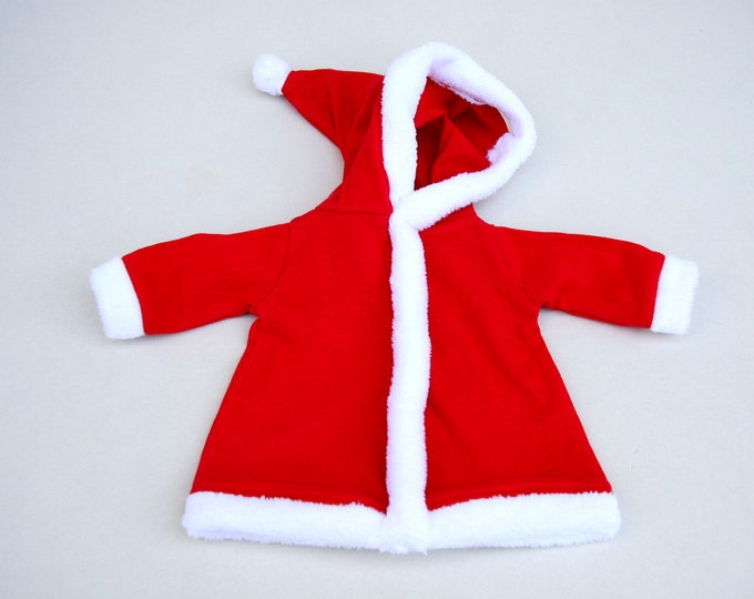 Santa's red hooded coat with fur for little creatures