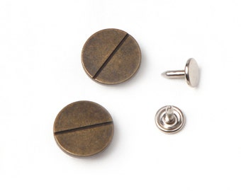10 sets 17 mm  buttons denim No Sew  jeans  tack metal buttons  antique gold button fastener with manual - Bolt