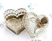 Heart Shaped Jewelry Box - Oxidized Silver Filgree