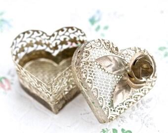 Heart Shaped Jewelry Box - Oxidized Silver Filgree - Love Gift Box