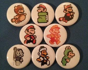 """8 Brand New 1"""" """"Mario Bros"""" Button Set"""