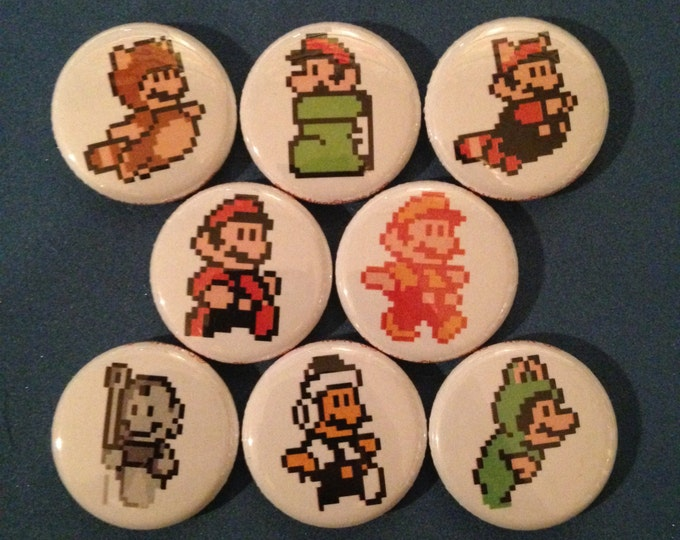 "Featured listing image: 8 Brand New 1"" ""Mario Bros"" Button Set"