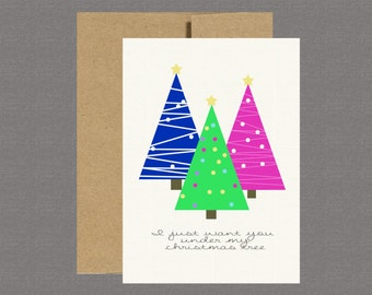 Military Greeting Card - Under My Tree - Boot Camp, Deployment, Care Package, Basic Training, Christmas Card, Military Card