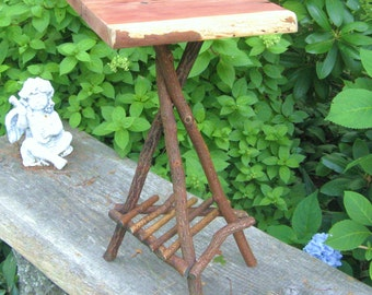 RUSTIC PLANT STAND Ready to ship, Side Table, Occasional Table, Candle Stand, Folk Art, Tramp, Primitive, Reclaimed Wood, Rustic Twig Table