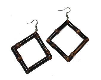 Tiki Square Bamboo Earrings (Burnt Wood)