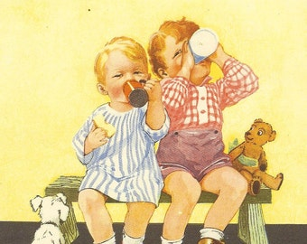 1920's Vintage E Dorothy Rees Children's Print Two Children Sitting On Bench Drinking From Cups Dog Watching Book Plate Book Illustration
