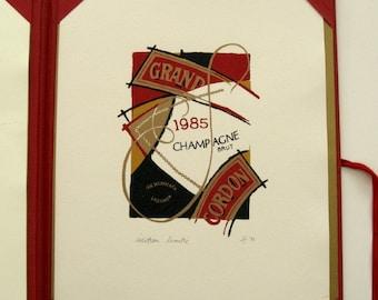 Mumm Grand Cordon Champagne Portfolio with original Hélène Côté Serigraph, 1992