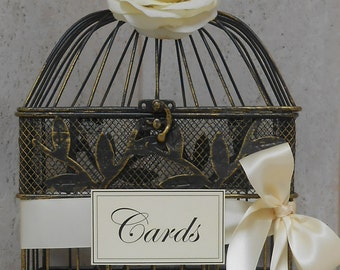 Small Birdcage Wedding Cardholder / Birdcage Wedding Decor / Card Box / Wedding Card Holder / Birdcage / Wedding Decorations / Gift Table