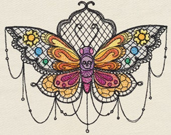 Bella Muerte - Calavera Polilla Butterfly Moth Sweet Skull Mexican Culture Dia De Los Muertos Embroidered Flour Sack Hand Towel