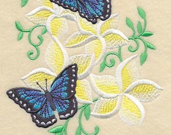 Frangipani and Butterflies Embroidered Flour Sack Hand Towel