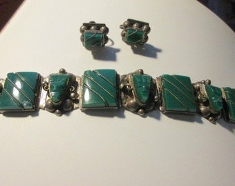 Mexican Jade Bracelet and Earring Set Marked Silver (J143)