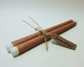 10 Inch Taper Candles Decoupaged Wrapped With Burlap Print Paper Home Decor