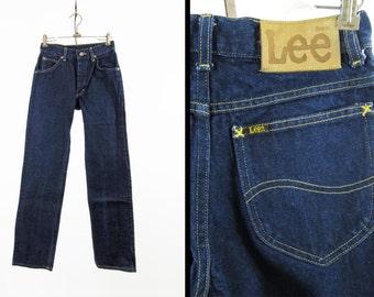 Vintage 70s Lee Denim Jeans Dark Indigo Riders Straight Leg Made in USA - 28 x 32
