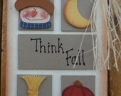 Autumn wall hanging/door hanger, FFFOFG, FREE SHIPPING, prim, folk art, fall, Thanksgiving