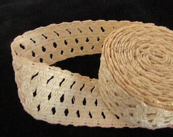 Vintage Ecru Linen Lace, Vintage Lace, Vintage Sewing Supplies, Vintage Craft Supplies, Vintage Millinery Lace, Vintage Linen Lace