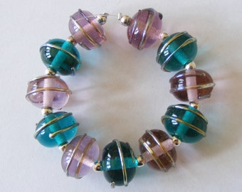 11 Handmade Lampwork Glass Beads - Teal/Light Amethyst