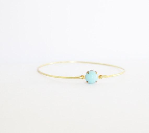 Turquoise Blue Set Stone Bangle, Blue Bangle, Blue Jewelry, Rhinestone Bangle, Bezel Bangle, Colored Stone Bracelet