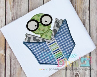 Back to School Boy Bookworm Digital Embroidery Design Machine Applique