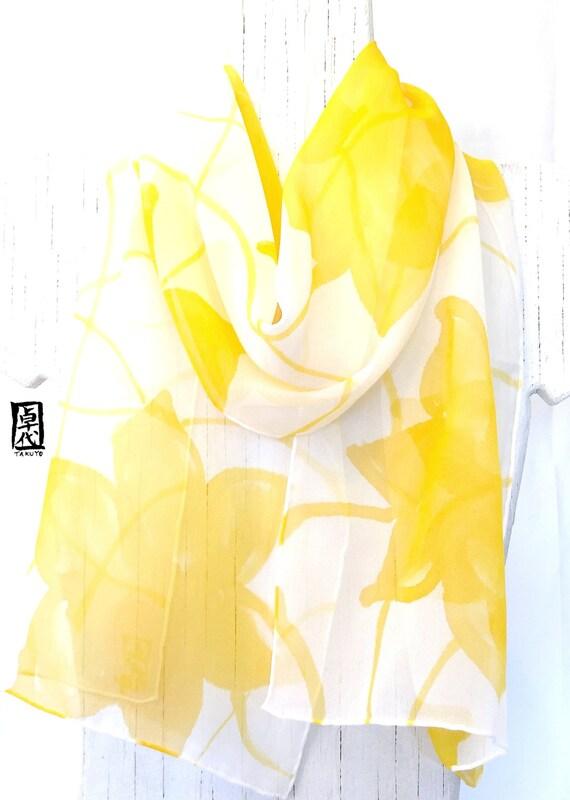 Silk Scarf Hand Painted, ETSY asap, Yellow and White Scarf, Summer Sunshine Scarf, Silk Scarves Takuyo, Silk Chiffon Scarf, 11x59 inches.