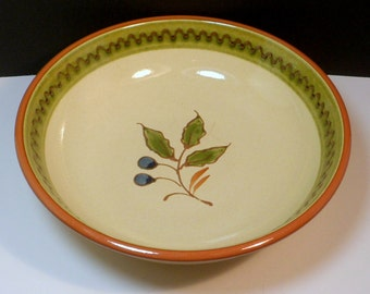 Ceramic Serving Bowl Olive Branch Molde Portugal 9 Inch Bowl Yellow Green Vintage 1970s