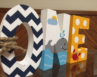 Ahoy Matey - Nautical - One - First Birthday - Baby Shower - Hand Painted - Wooden Photo Party Decor Prop