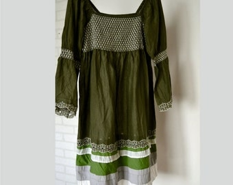 Women's cotton dress, dark olive dress, hippie dress, boho artsy dress, romantic dress, upcycled clothing, dress long sleeves,recycled dress